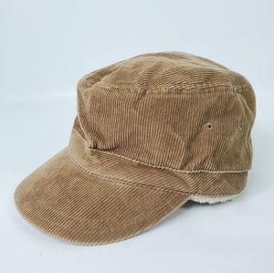 Corduroy Sherpa Lined Warm Winter Cap Hat